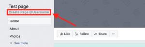 custom Facebook business page URL
